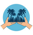 hands with beach cityscape scene vector image vector image