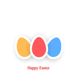 Happy Easter Card colored eggs on a white vector image vector image