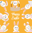 happy easter poster with bunnies differents style vector image