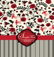 invitation card with red flowers vector image vector image
