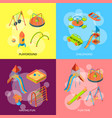isometric playground objects concept vector image vector image