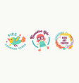 kids creative class art center banners or badges vector image vector image