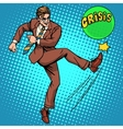 man hits ball with name crisis vector image vector image