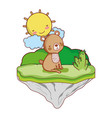 nice bear seated in the float island vector image vector image