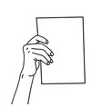 one hand holding a4 paper sheet hand drawn vector image