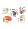 people working from home on laptops and computers vector image