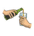 pouring beer into glass sketch vector image