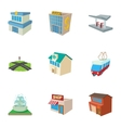 Public building icons set cartoon style vector image vector image