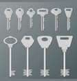 realistic silver isolated keys on wall vector image vector image