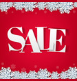 red sale background with snowflake vector image