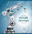 robotic arm poster vector image vector image