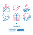 romantic thin line icons set vector image vector image