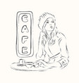 scetch girl in cafe vector image vector image