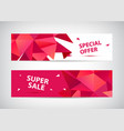 set faceted 3d shape sale banners use vector image vector image