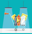 shopping cart with products icon vector image