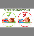 sleeping position pillow curvature of vector image vector image