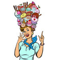 stewardess woman dreams sweet vector image