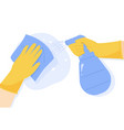 surface cleaning housework cleaning hands in vector image