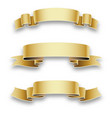 three golden holiday ribbons for birthday vector image