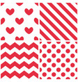 tile pattern set with red and white background vector image vector image