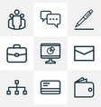 trade outline icons set collection of analytics vector image vector image