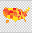 usa map with federal states united states of vector image vector image