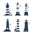 various lighthouse marine labels and emblems vector image vector image