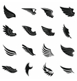 Wings icons set black simple style vector image vector image