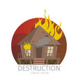 wooden bungalow in flame vector image vector image