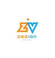 zv z v orange blue alphabet letter logo vector image