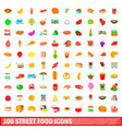 100 street food icons set cartoon style vector image vector image