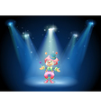 A clown juggling at the stage vector | Price: 1 Credit (USD $1)