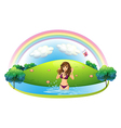 A sexy lady in bikini at the beach vector image vector image