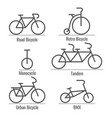 bicycle types collection vector image vector image