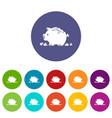broken piggy bank icons set color vector image vector image