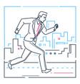 businessman running - line design style vector image