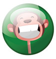 cartoon character of a smiling monkey in green vector image