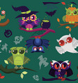 cartoon halloween owls endless texture vector image vector image