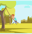 child swinging on rope flat vector image vector image