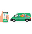 delivery van full food and smartphone vector image vector image
