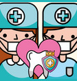 dentist boy and girl tooth prevention vector image vector image