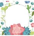emblem frame with desert plants vector image vector image