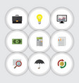 flat icon gain set of calculate scan document vector image vector image