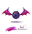funny cute crazy cartoon bat fear and horror vector image
