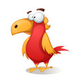 funny cute crazy - cartoon bird vector image