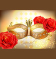 golden mask with diomonds realistic vector image vector image