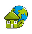 green house with leaf and earth planet vector image vector image