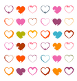Grunge Heart Symbols Set Isolated on White vector image