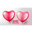 heart balloon transparent 3d realistic red vector image