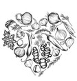 heart floral design with black and white onion vector image vector image